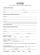 Sample Gift Certificate Purchase Order Form
