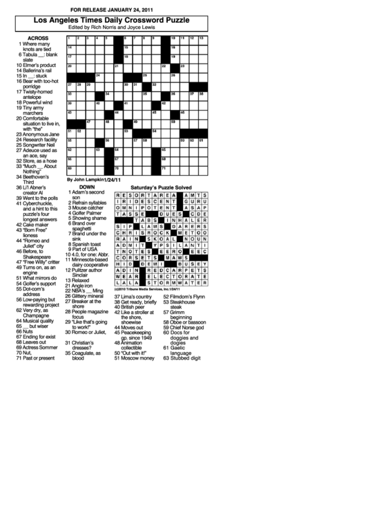 los angeles times daily crossword puzzle template printable pdf download