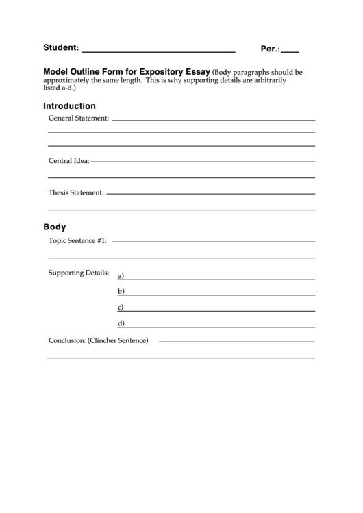 sentence outline for expository essay How to write a 5 paragraph essay: outline, example whether it's in an essay or not, should be a topic sentence expository essay.