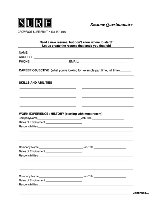 resume questionnaire form printable pdf download