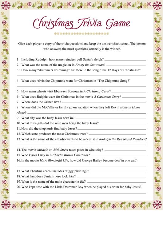 Christmas Trivia Game Template printable pdf download