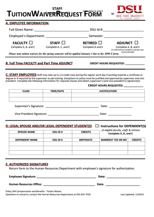 Fillable Tuition Waiver Request Form - Dixie State University Printable pdf