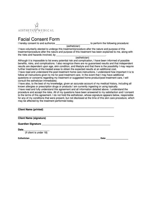 facial consent form printable pdf download. Black Bedroom Furniture Sets. Home Design Ideas