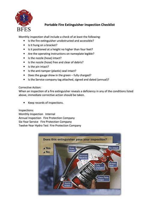portable fire extinguisher inspection form