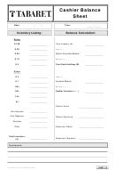 Cashier Balance Sheet