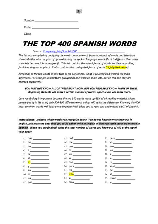 The Top 400 Spanish Words' Spanish Worksheet printable pdf
