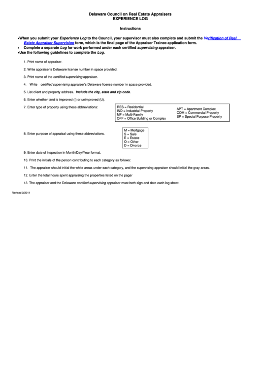 Fillable Experience Log Template - Delaware Council On Real Estate Appraisers Printable pdf