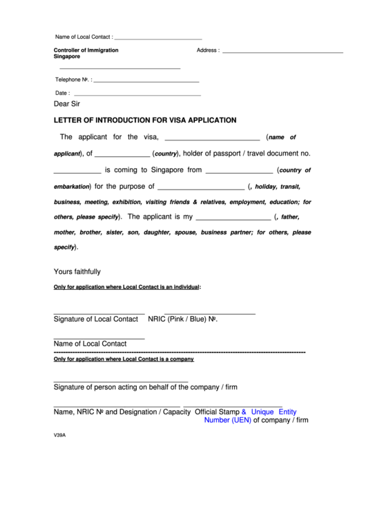 Letter of introduction for visa application controller of letter of introduction for visa application controller of immigration singapore altavistaventures Choice Image