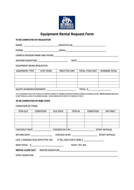Equipment Rental Request Form
