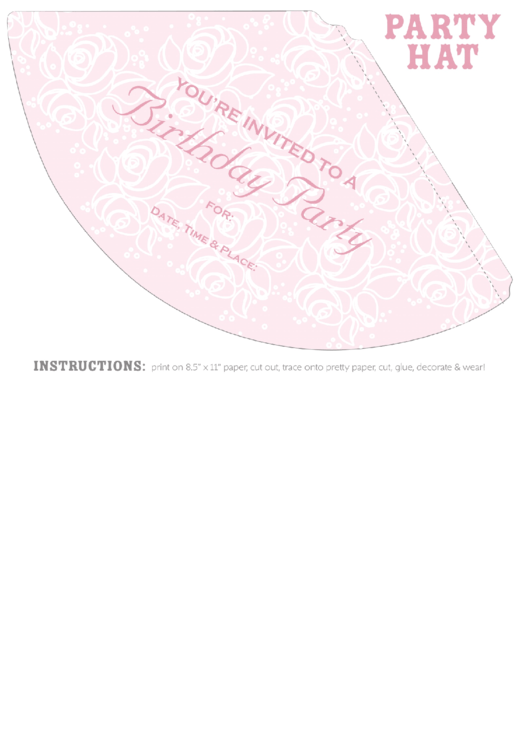Princess Party Hat Invitation Template Printable pdf