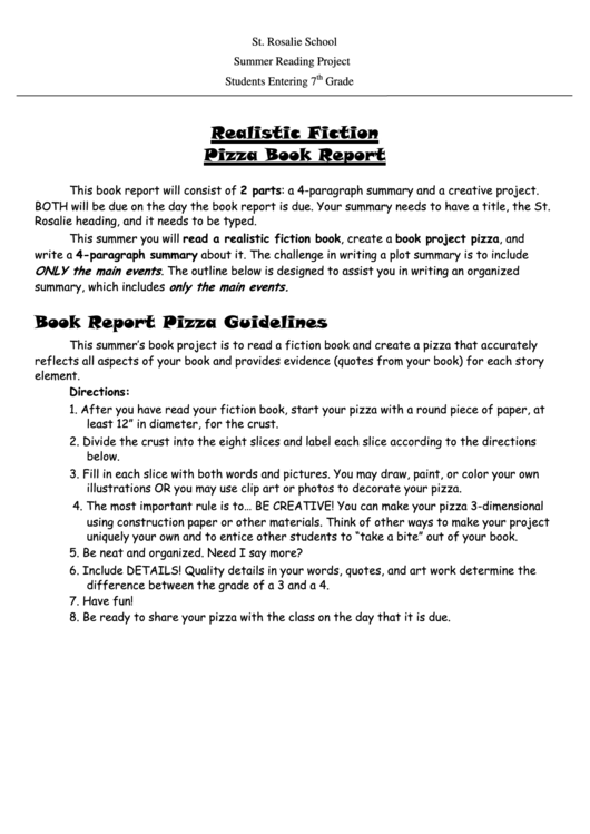 Realistic Fiction Pizza Book Report Template Printable Pdf