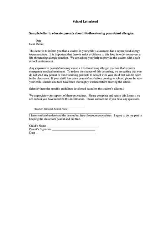 Sample Letter To Educate Parents About Life-threatening Peanut/nut Allergies