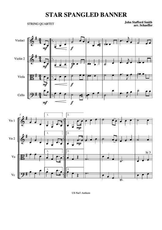 Star Spangled Banner - String Quartet (sheet Music)