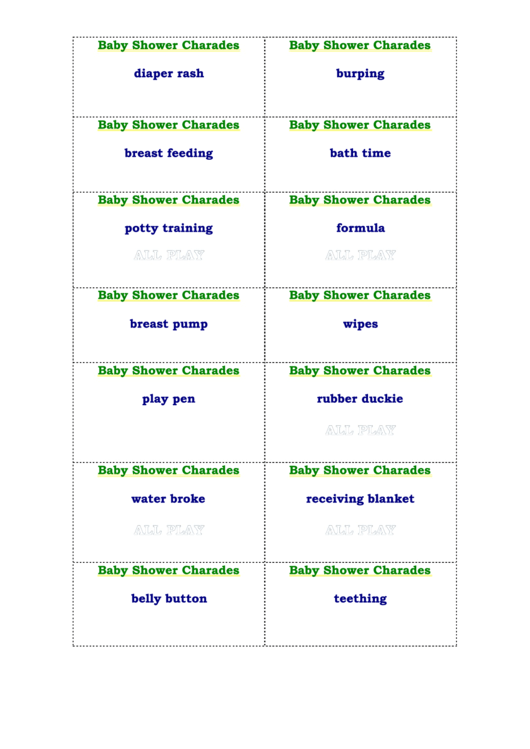 Baby Shower Charades Template