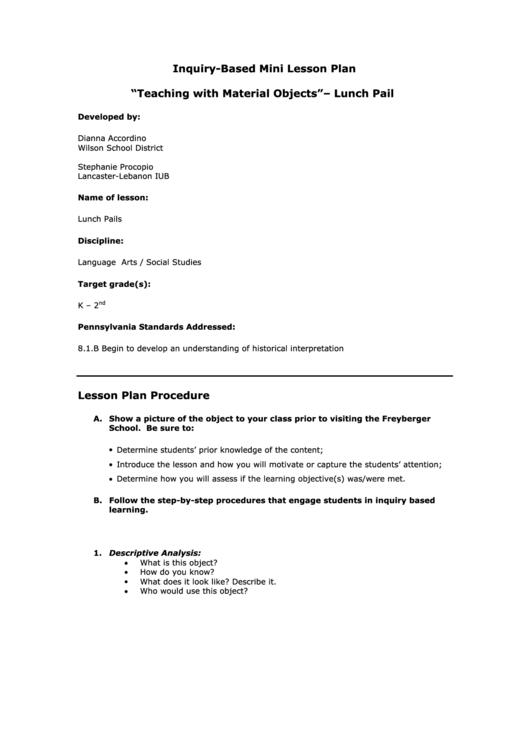Social Studies K-2 Grade Lesson Plan Sample Printable pdf