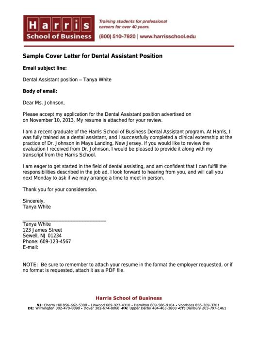 Sample Cover Letter For Dental Assistant Position Printable pdf