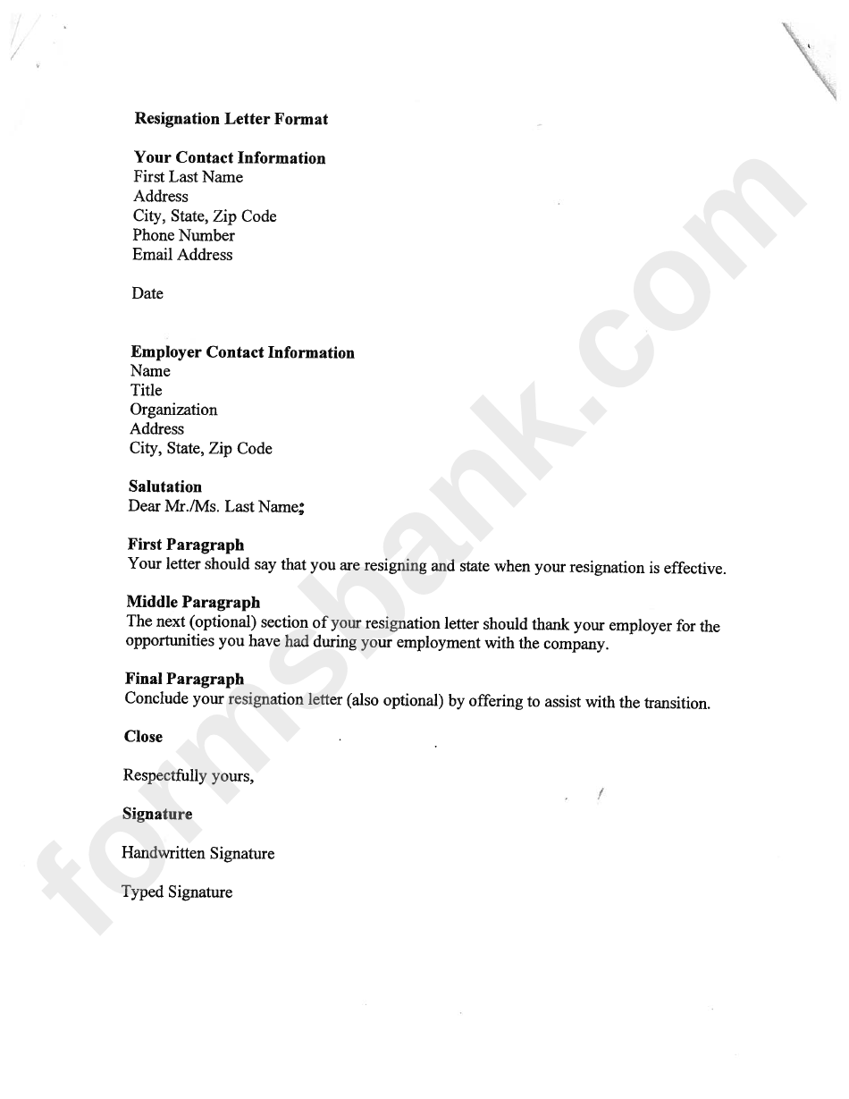Resignation Letter Format Template