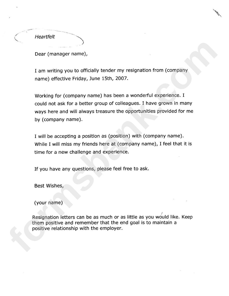 Resignation Letter Format Template