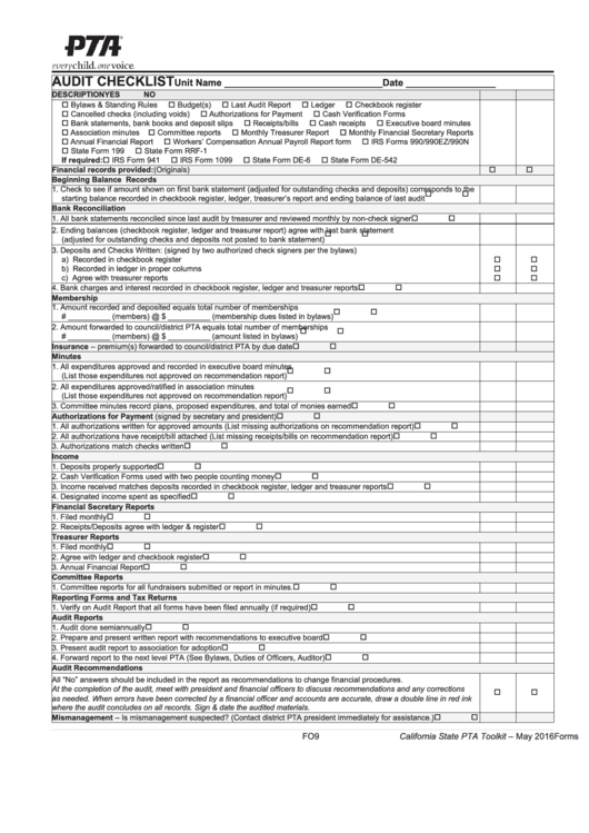 fillable pta audit checklist and report form printable pdf