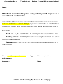 Third Grade Activity Template For Parents
