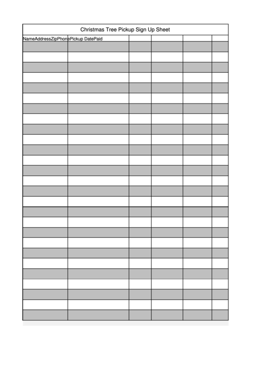 Christmas Tree Pickup Sign Up Sheet Template