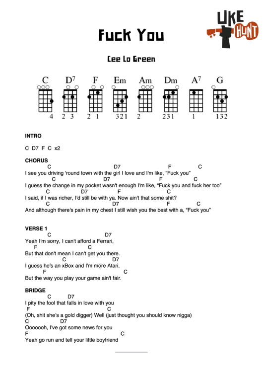 graphic about Printable Ukulele Chord Chart called Fuck Your self - Cee Lo Inexperienced (Ukulele Chord Chart) printable pdf