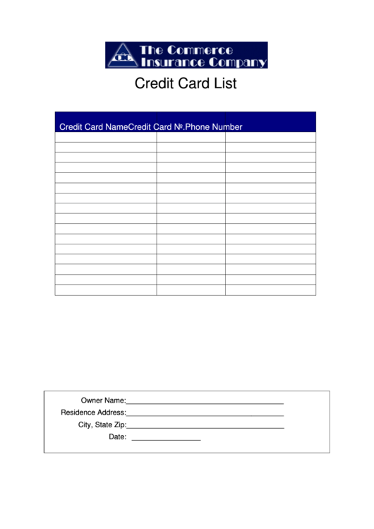 credit card list template printable pdf download