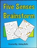 'five Senses' Kids Activity Sheet