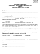 Form Ssa-89 - Authorization For The Social Security Administration (ssa) To Release Social Security Number (ssn) Verification