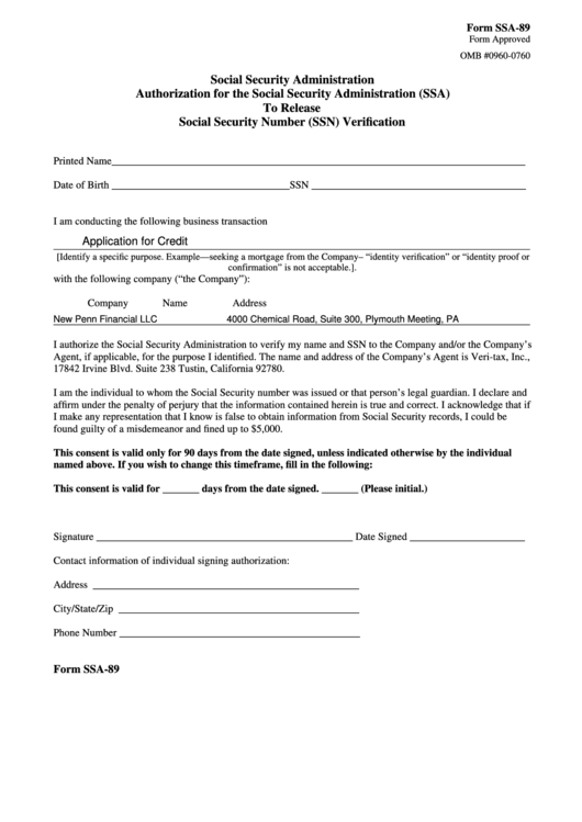 Fillable Form Ssa-89 - Authorization For The Social Security Administration (Ssa) To Release Social Security Number (Ssn) Verification Printable pdf