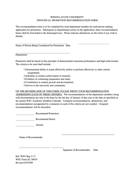 Individual Promotion Recommendation Form Printable pdf