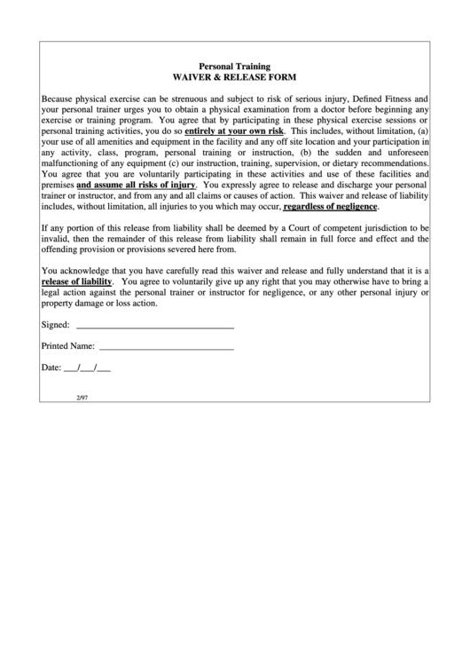 personal training waiver release form printable pdf download. Black Bedroom Furniture Sets. Home Design Ideas