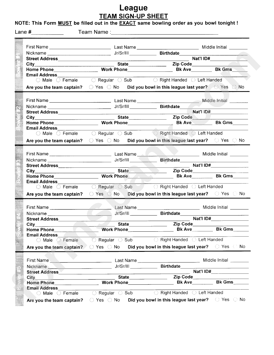 bowling league team sign up sheet printable pdf download