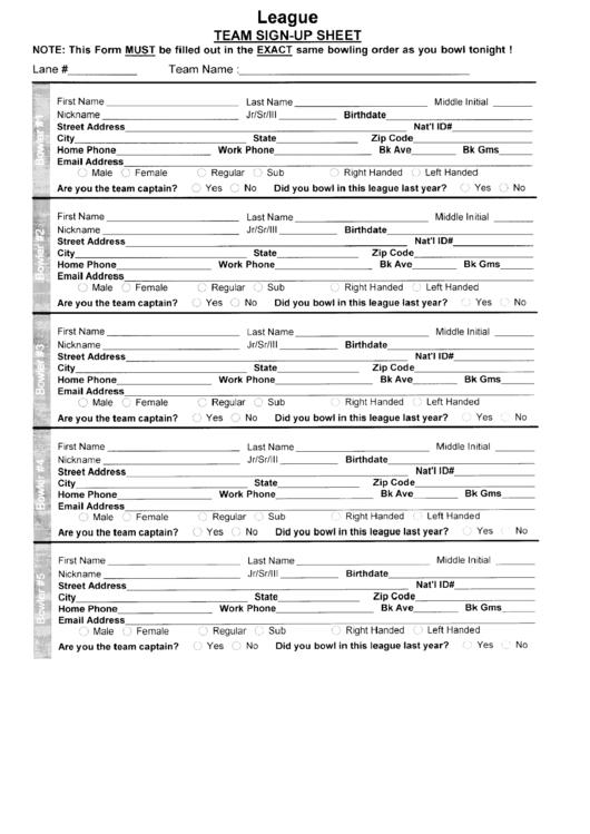 Bowling League Team Sign-up Sheet