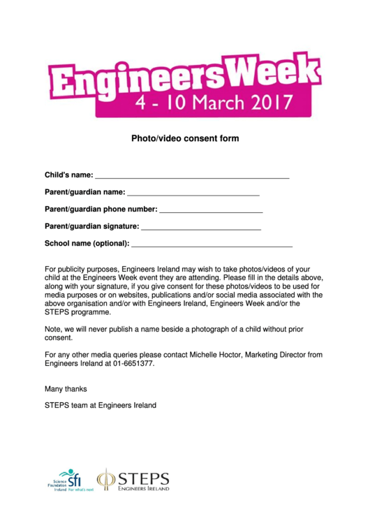 Photo/video Consent Form - Engineers Week