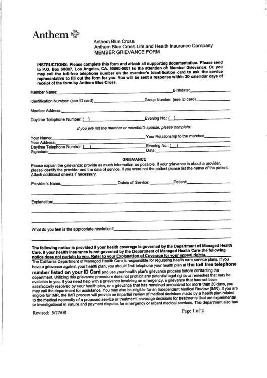 Anthem Blue Cross Member Grievance Form printable pdf download