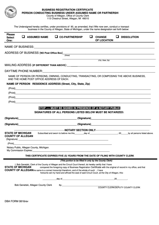 dba registration certificate form assumed business person conducting under partnership pdf printable template