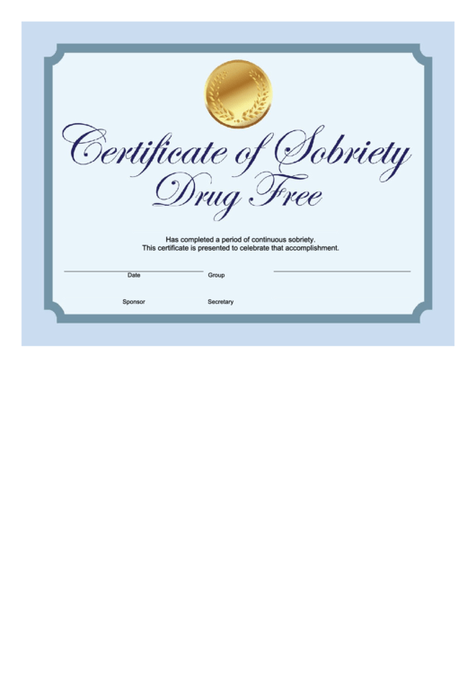 sobriety certificate template - drug free