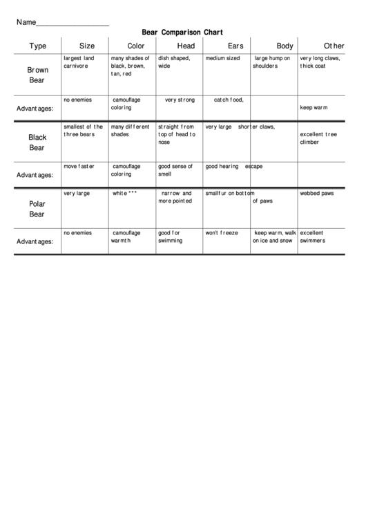 Bear Comparison Chart Printable Pdf Download