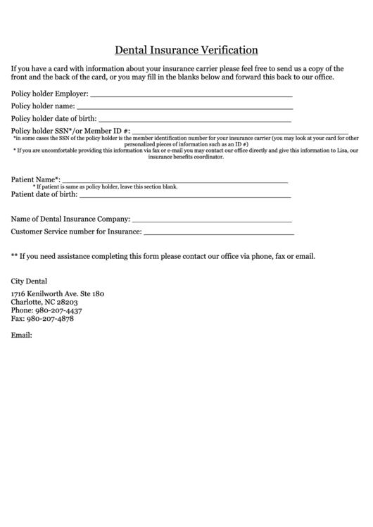 dental insurance verification printable pdf download