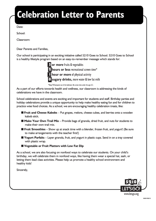 Celebration Letter To Parents Template