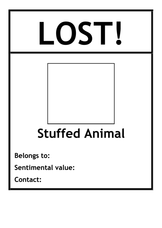 Lost Stuffed Animal Poster Template