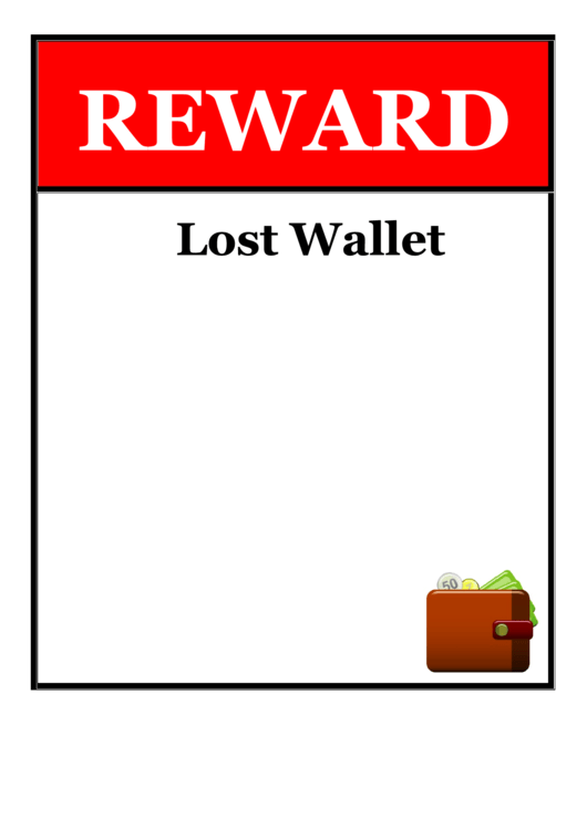 Lost Wallet Reward Poster Template Printable pdf