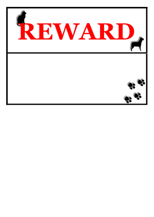Lost Pet Reward Poster Template Printable pdf