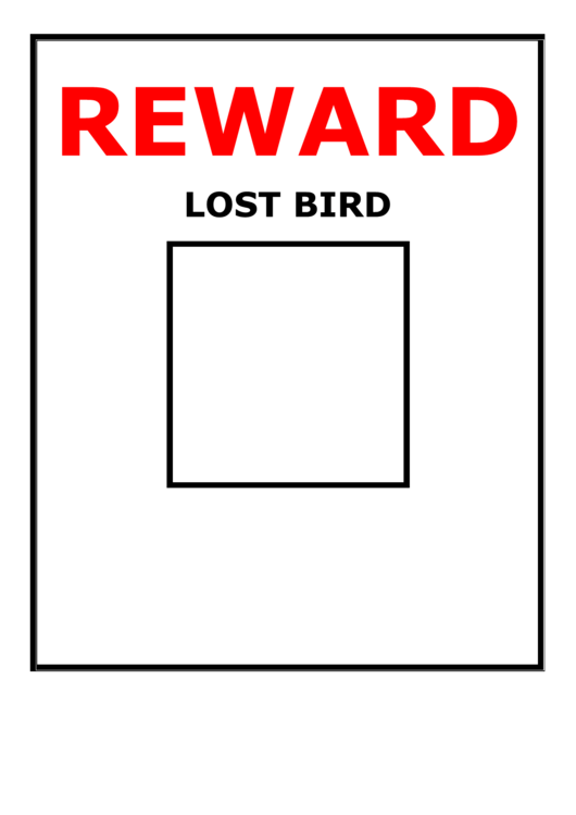 Lost Bird Reward Poster Template Printable pdf