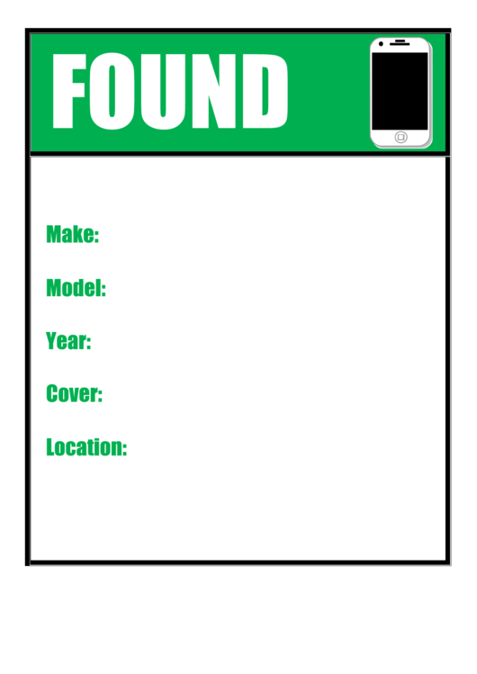 Found Cell Phone Poster Template Printable pdf