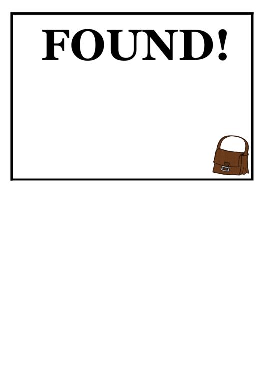 Found Purse Poster Template Printable pdf