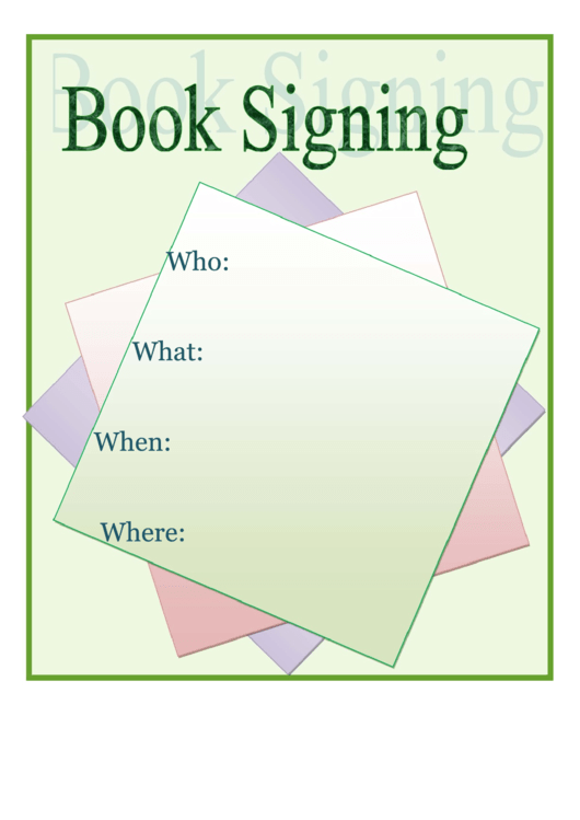 Book Signing Flyer Template Printable pdf
