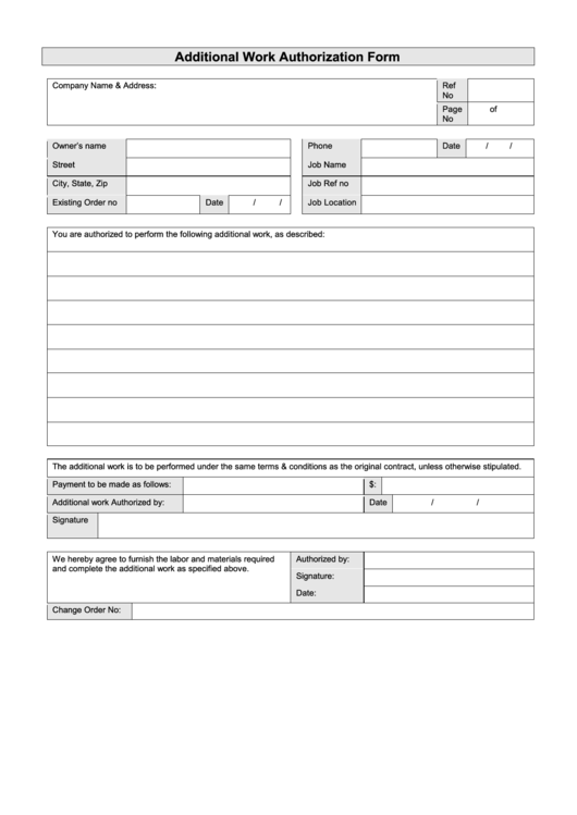 additional work authorization form printable pdf download