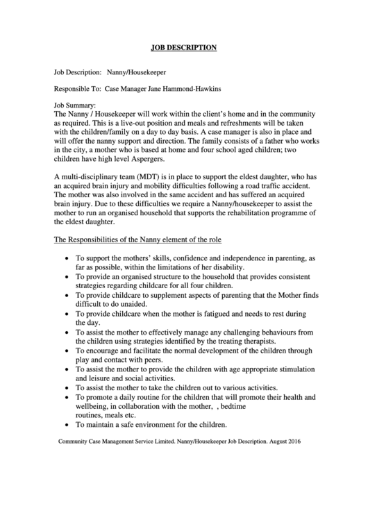 Nanny Housekeeper Printable pdf